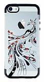 iPhone SE / 5 / 5S Siyah Peacock Taşlı Şeffaf Silikon Kılıf