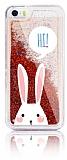 iPhone SE / 5 / 5S Simli Sulu Tavşan Resimli Kırmızı Silikon Kılıf