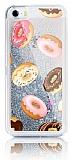 iPhone SE / 5 / 5S Simli Sulu Donut Resimli Silver Silikon Kılıf