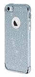 iPhone SE / 5 / 5S Simli Silver Silikon Kılıf