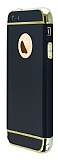 iPhone SE / 5 / 5S Siyah Kenarl� Aynal� Siyah Rubber K�l�f