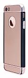 iPhone SE / 5 / 5S Siyah Kenarl� Aynal� Rose Gold Rubber K�l�f