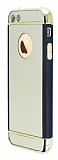 iPhone SE / 5 / 5S Siyah Kenarl� Aynal� Gold Rubber K�l�f