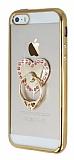 iPhone SE / 5 / 5S Taşlı Selfie Yüzüklü Gold Silikon Kılıf