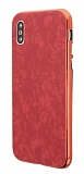 iPhone X 360 Derece Koruma Desenli Manyetik Cam Kırmızı Kılıf