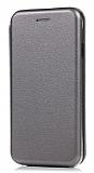iPhone X Curve Manyetik Kapaklı Silver Deri Kılıf