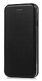 iPhone X Curve Manyetik Kapaklı Siyah Deri Kılıf