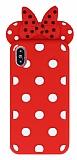 iPhone X Fiyonklu Kırmızı Silikon Kılıf