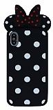 iPhone X Fiyonklu Siyah Silikon Kılıf