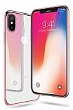 iPhone X Rose Gold Kenarlı Şeffaf Silikon Kılıf