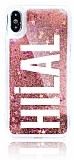 iPhone X Kişiye Özel Simli Sulu Rose Gold Rubber Kılıf