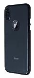 iPhone X Metal Tuşlu Siyah Silikon Kenarlı Şeffaf Kılıf