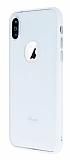 iPhone X Metal Tuşlu Beyaz Silikon Kenarlı Şeffaf Kılıf