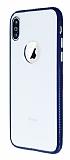 iPhone X Metal Tuşlu Silikon Lacivert Kenarlı Şeffaf Kılıf