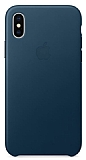iPhone X Orjinal Cosmos Blue Deri Kılıf
