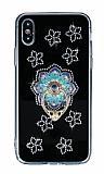 iPhone X / XS Selfie Yüzüklü Taşlı Çiçekli Silikon Kılıf