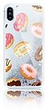 iPhone X Simli Sulu Donut Silver Silikon Kılıf