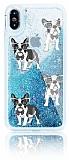 iPhone X Simli Sulu Köpekli Mavi Silikon Kılıf