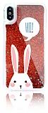 iPhone X Simli Sulu Tavşan Kırmızı Silikon Kılıf