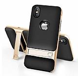 Eiroo Tiger Power iPhone X Standlı Ultra Koruma Gold Silikon Kılıf