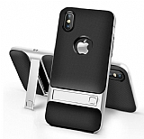 Eiroo Tiger Power iPhone X Standlı Ultra Koruma Silver Silikon Kılıf