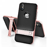 Eiroo Tiger Power iPhone X / XS Standlı Ultra Koruma Rose Gold Silikon Kılıf