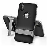 Eiroo Tiger Power iPhone X Standlı Ultra Koruma Dark Silver Silikon Kılıf