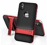 Eiroo Tiger Power iPhone X Standlı Ultra Koruma Kırmızı Silikon Kılıf