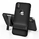 Eiroo Tiger Power iPhone X Standlı Ultra Koruma Siyah Silikon Kılıf