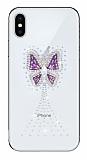 iPhone X Taşlı Kelebek Şeffaf Silikon Kılıf