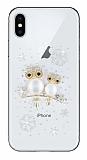 iPhone X Taşlı Baykuş Şeffaf Silikon Kılıf