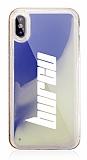 iPhone X / XS Kişiye Özel Neon Kumlu Mavi Silikon Kılıf