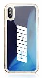 iPhone X / XS Kişiye Özel Neon Kumlu Lacivert Silikon Kılıf