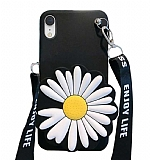 iPhone XR Cüzdanlı Boyun Askılı Siyah Papatya Kılıf