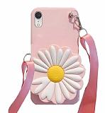 iPhone XR Cüzdanlı Boyun Askılı Pembe Papatya Kılıf