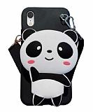 iPhone XR Cüzdanlı Boyun Askılı Panda Kılıf