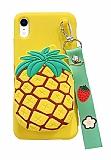 iPhone XR Cüzdanlı Boyun Askılı Ananas Kılıf