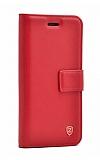 iPhone XR Cüzdanlı Yan Kapaklı Kırmızı Deri Kılıf