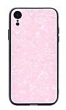 iPhone XR Desenli Silikon Kenarlı Pembe Rubber Kılıf