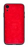 iPhone XR Desenli Silikon Kenarlı Kırmızı Rubber Kılıf