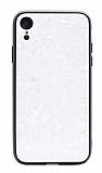 iPhone XR Desenli Silikon Kenarlı Beyaz Rubber Kılıf