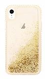 iPhone XR Simli Sulu Gold Rubber Kılıf