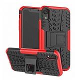iPhone XR Süper Koruma Standlı Kırmızı Kılıf