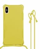 iPhone XS Max Askılı Sarı Silikon Kılıf