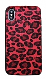 iPhone XS Max Leopar Peluş Kırmızı Rubber Kılıf