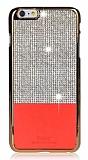 iSecret iPhone 6 / 6S Gold Kenarlı Taşlı Kırmızı Rubber Kılıf