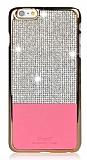 iSecret iPhone 6 / 6S Gold Kenarlı Taşlı Pembe Rubber Kılıf