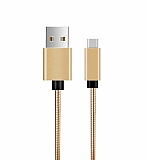 ivon USB Type-C Gold Metal Kısa Data Kablosu 20cm