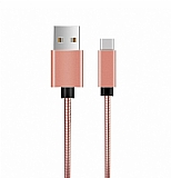 ivon USB Type-C Rose Gold Metal Kısa Data Kablosu 20cm
