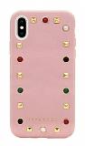 Janesper iPhone XS Max Zımbalı Pembe Deri Kılıf